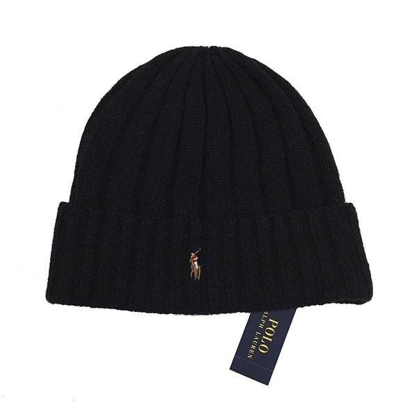 Polo Ralph Lauren Mens Wool Blend Black Beanie Hat 93fdbf62a253